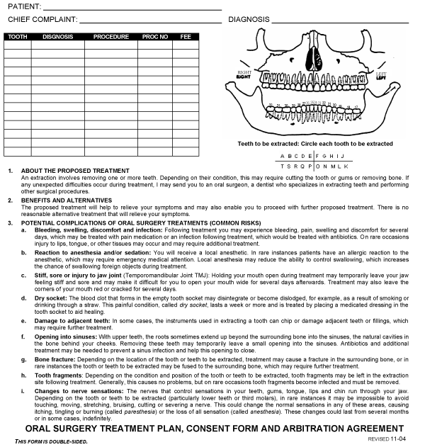 Oral Surgery Consent Form